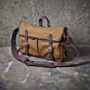 Canvas And Leather Messenger Bag - bags