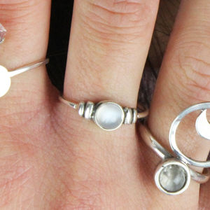Dainty Round Bohemian Sterling Silver Moonstone Ring - rings