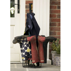 Umbrella And Welly Boot Storage Rack Made In Britain - storage & organisers
