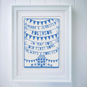 Personalised First New Home Papercut Or Print - what's new