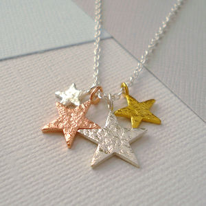 Mixed Metal Family Stars Necklace