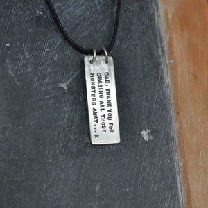 Dads Silver Hidden Message Necklace