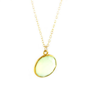 Gold And Green Chalcedony Necklace
