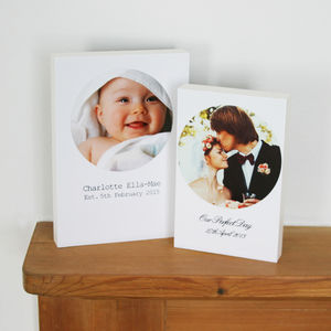 Circular Polaroid Desk Frame With Personalised Caption