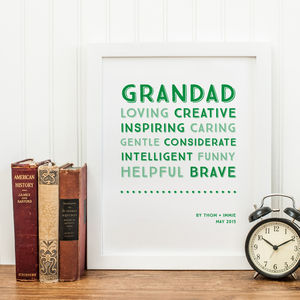 Personalised Traits Print For Grandparents - prints & art
