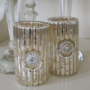 Antiqued Ribbed Glass Votive Pair