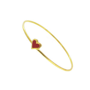 Gold Heart Bangle With Red Enamelled Detail
