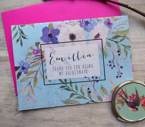 Watercolour Floral Bridesmaid Card - thank you cards
