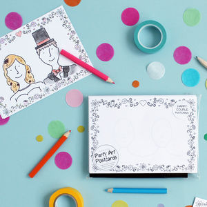 'Draw The Happy Couple' Wedding Postcards - wedding day activities