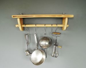 Kitchen Pan Rail And Shelf In Natural Wood - kitchen