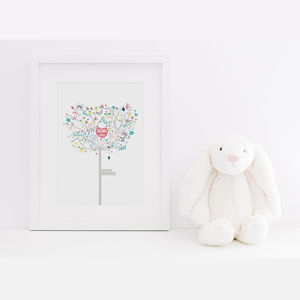 Personalised New Baby Girl Happiness Tree Print - christening gifts