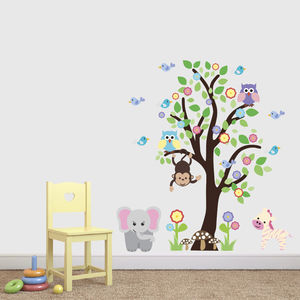 Tree With Elephant And Zebra Wall Sticker - wall stickers