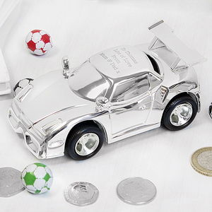 Personalised Racing Car Money Box - christening gifts