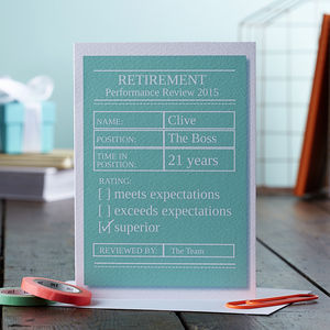 Retirement Performance Review Personalised Card - retirement cards