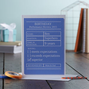 Birthday Performance Review Personalised Card