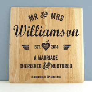 Personalised Wedding Letterpress Style Print On Wood