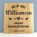 Personalised Wedding Letterpress Style Print On Wood