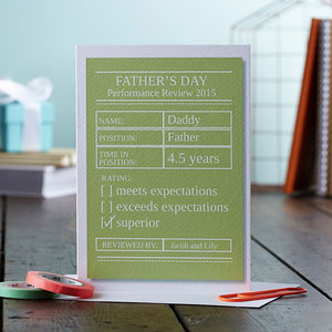 Daddy's Performance Review Personalised Card
