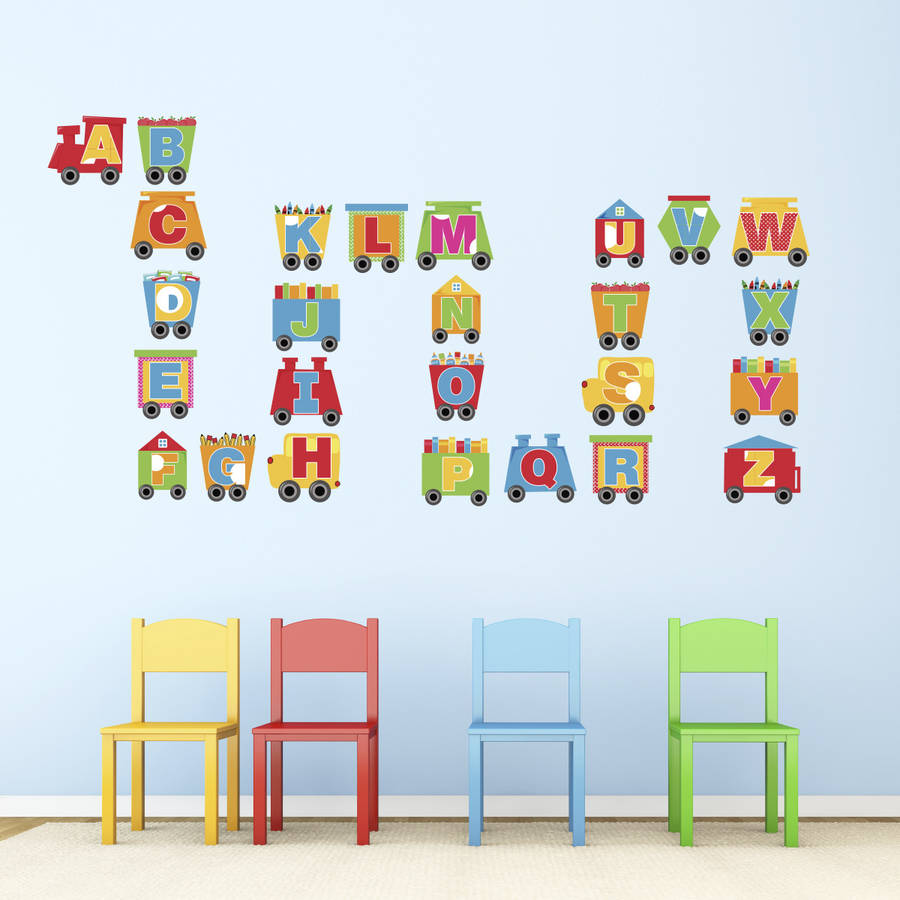 train alphabet wall stickers by mirrorin
