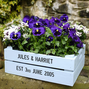 Personalised Medium Planter Crate - anniversary gifts for the garden