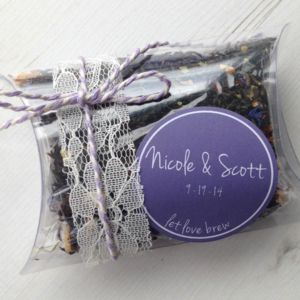 Personalised Tea Pillow Wedding Favours - edible favours