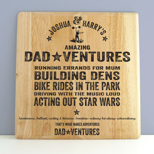 Dadventures Personalised Wooden Print For Dad - shop by price