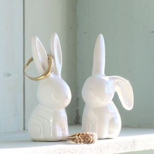 Pair Of Bunny Ring Holders - bedroom