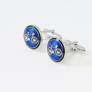 Stylish Hand Painted Bicycle Cufflinks - men's jewellery
