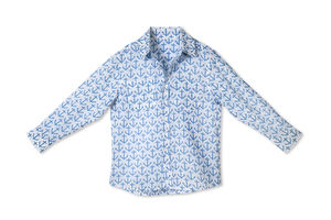 Mini Boys Long Sleeve Shirt Anchor Blue - shirts & blouses