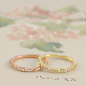 Rose Gold/Yellow Gold Fine Topaz Pave Stacking Ring - rings
