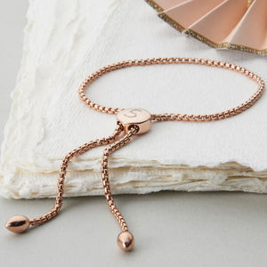 Personalised Slider Rose Gold Mesh Friendship Bracelet