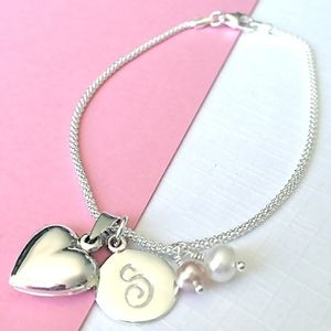Birthstone Bracelet With Tiny Heart Locket - personalised