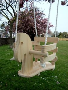 Baby Wooden Horse Swing - garden furniture