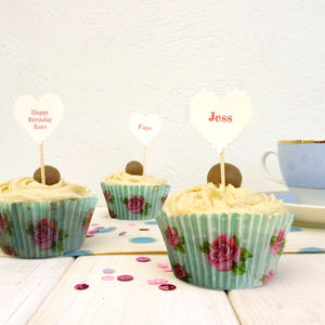 10 Personalised Cupcake Toppers - cake toppers & decorations