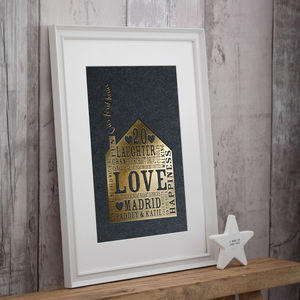 Metallic Personalised Family Home Christmas Gift Print - family & home