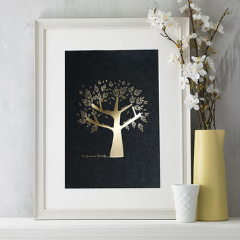 Metallic Personalised Family Tree Print For Her