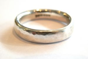 Mens Silver Hammered Ring - rings