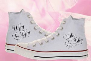 Wifey For Lifey Bride Wedding Converse Shoes - the morning of the big day
