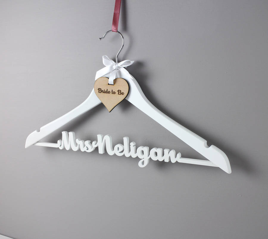 personalised white wedding dress hanger by no ordinary gift company ...