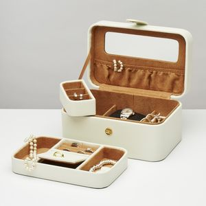 Ivory Bonded Leather Jewel Box With Tray - jewellery storage & trinket boxes