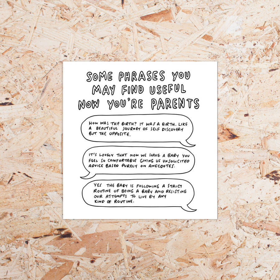 'Useful Phrases Now You're Parents' New Baby Card