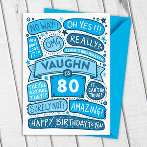 80th Omg Birthday Personalised Illustrated Card Blue - birthday cards
