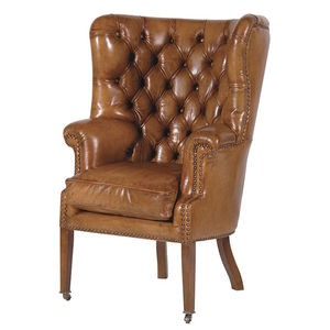 Cartel Olive Brown Wing Chair