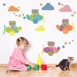 Flying Bears And Clouds Fabric Wall Stickers
