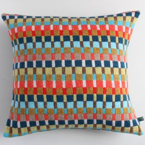 Locomotive Knitted Lambswool Cushion - bedroom