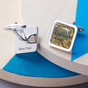 Personalised Square Map Location Cufflinks - gifts for grandfathers