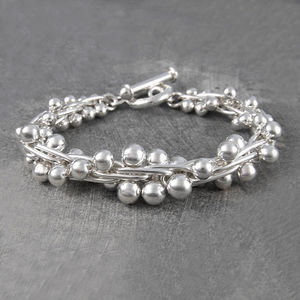 Graduated Solid Peppercorn Sterling Silver Bracelet