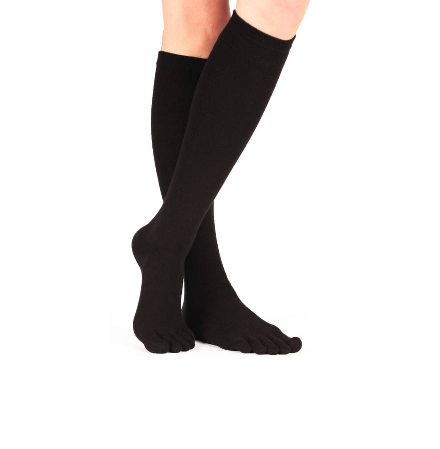 73aacdb283d Plain Knee-High Black Toe Socks