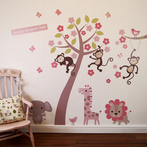 Pastel Blossom Tree With Animals Wall Sticker - bedroom