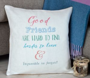' Good Friends ' Ivory Linen Cushion
